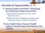 activities opportunities 9 10