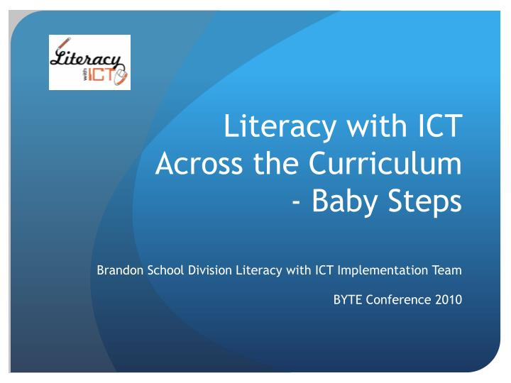 literacy with ict across the curriculum baby steps n.
