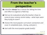 from the teacher s perspective