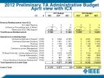 2012 preliminary ta administrative budget april view with icx