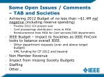 some open issues comments tab and societies