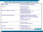 tad tab administrative budget structure