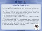 rules for constructors