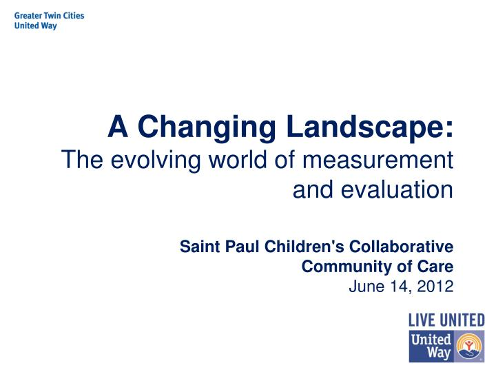 a changing landscape the evolving world of measurement and evaluation n.