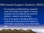 web based support systems wss