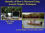 quantity of flow is measured using acoustic doppler techniques