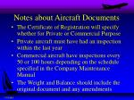 notes about aircraft documents