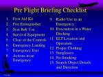 pre flight briefing checklist