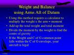 weight and balance using arms aft of datum