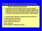 example bioapi service provier specifications