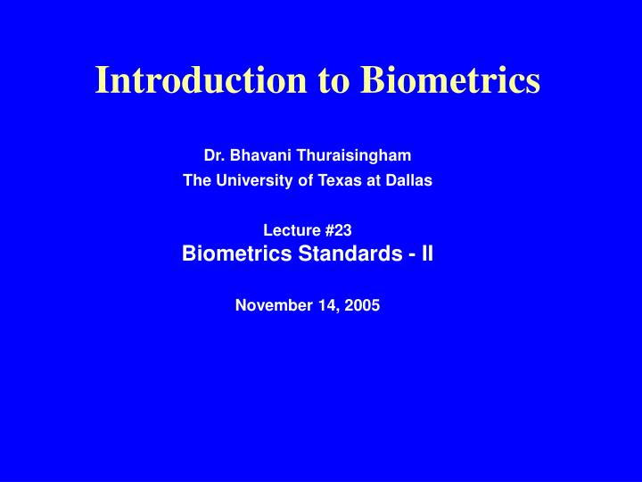 introduction to biometrics n.