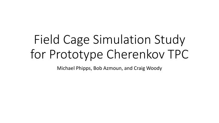 field cage simulation study for prototype cherenkov tpc n.