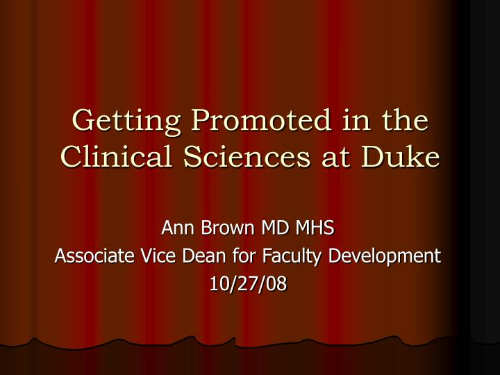 getting promoted in the clinical sciences at duke n.
