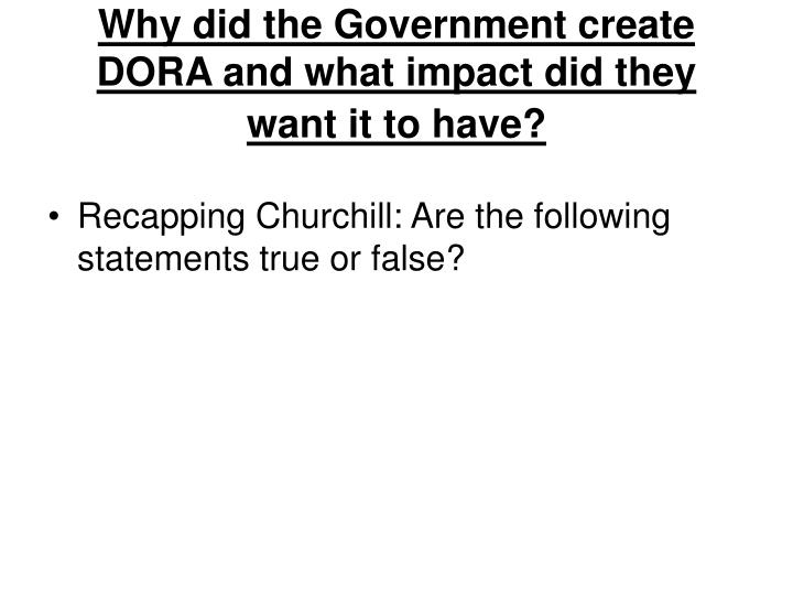 why did the government create dora and what impact did they want it to have n.