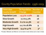 county population trends 1996 2009