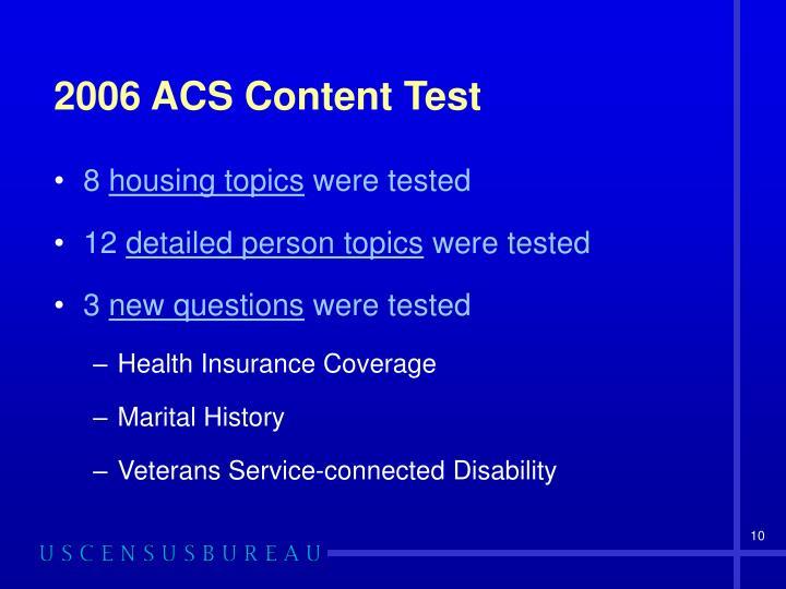 2006 ACS Content Test
