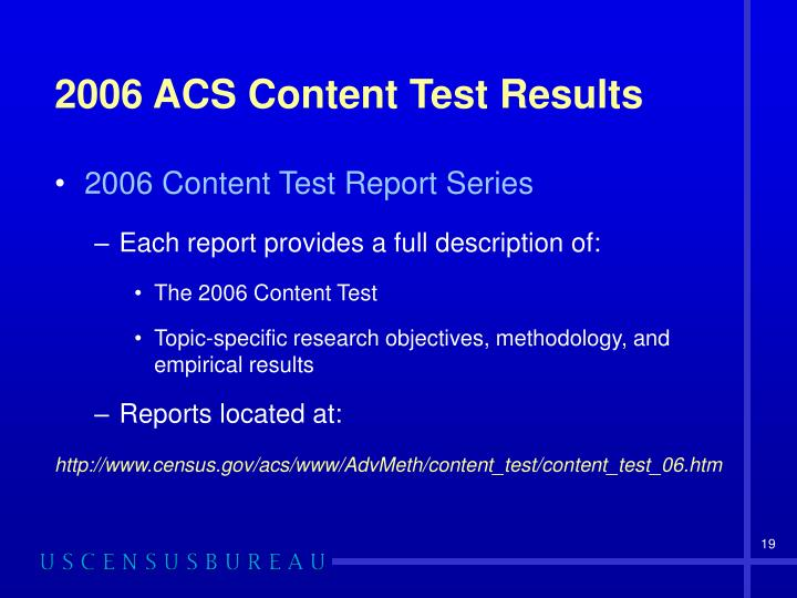 2006 ACS Content Test Results