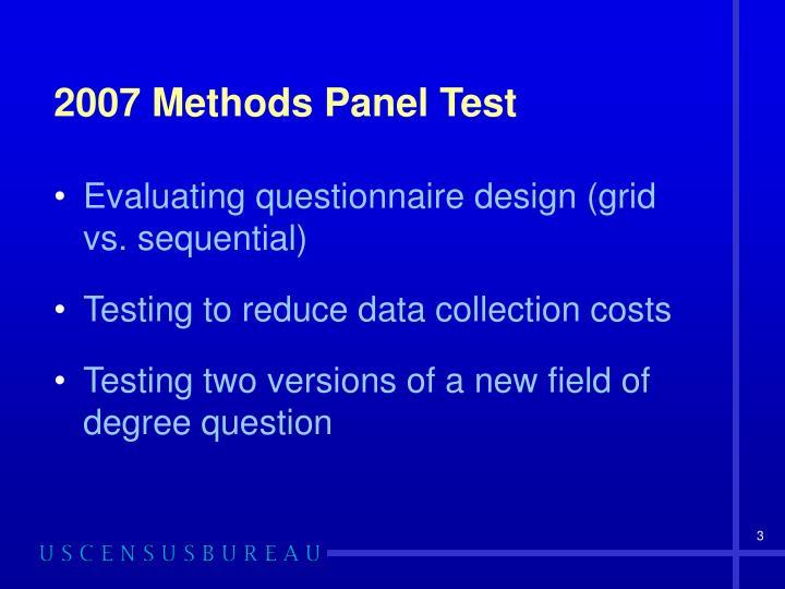 2007 methods panel test