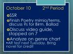 october 10 2 nd period