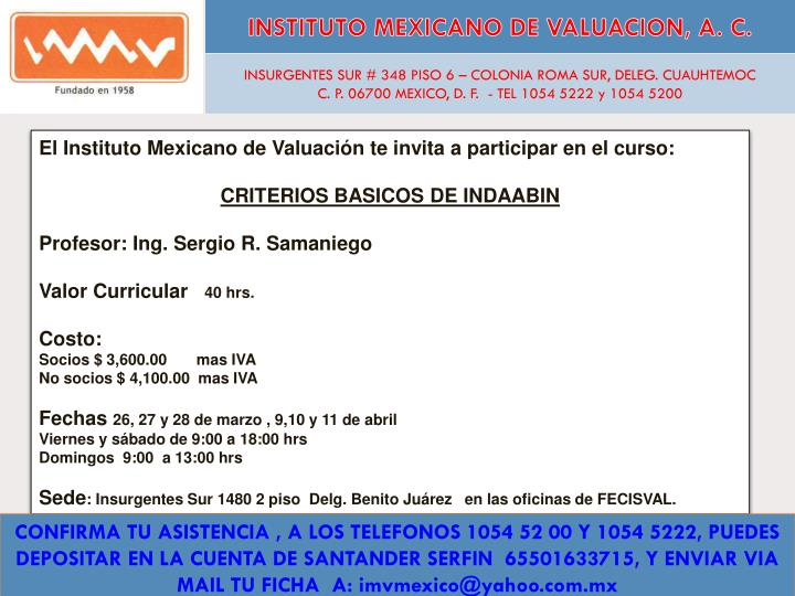 instituto mexicano de valuacion a c n.