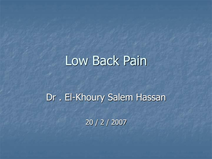 low back pain n.