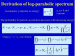 derivation of log parabolic spectrum