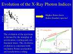 evolution of the x ray photon indices