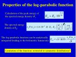 properties of the log parabolic function