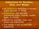 adjectives for number size and shape
