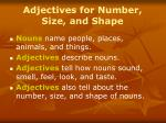 adjectives for number size and shape10