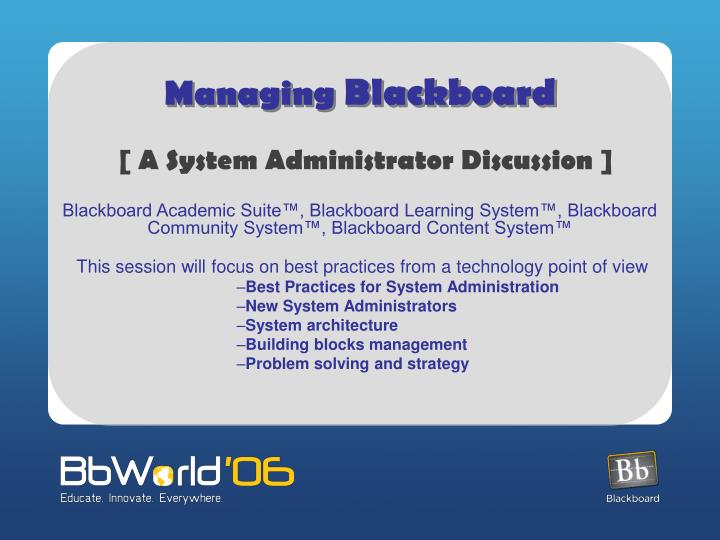 managing blackboard n.