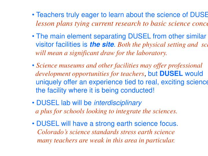 Teachers truly eager to learn about the science of DUSEL!