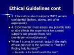 ethical guidelines cont