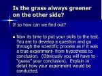 is the grass always greener on the other side