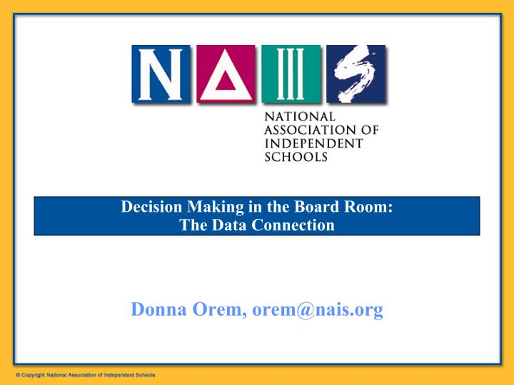 decision making in the board room the data connection n.