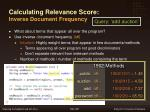 calculating relevance score inverse document frequency