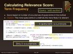 calculating relevance score term frequency