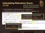 calculating relevance score tf idf