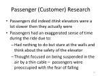 passenger customer research