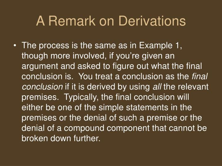 A Remark on Derivations