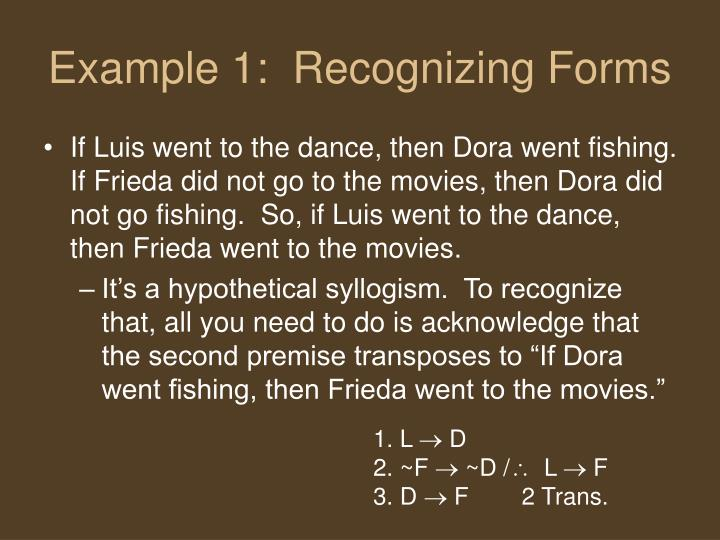 Example 1:  Recognizing Forms