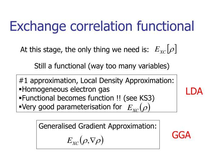 Exchange correlation functional