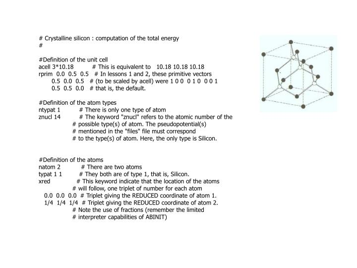 # Crystalline silicon : computation of the total energy