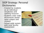 siop strategy personal dictionaries