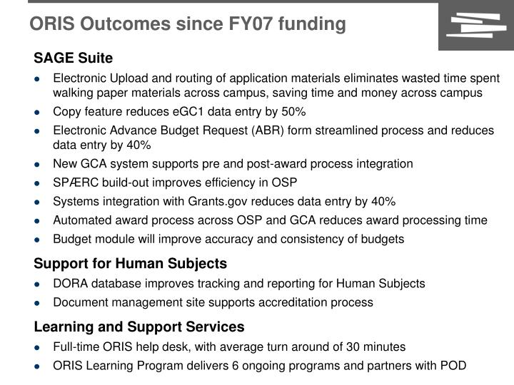 ORIS Outcomes since FY07 funding