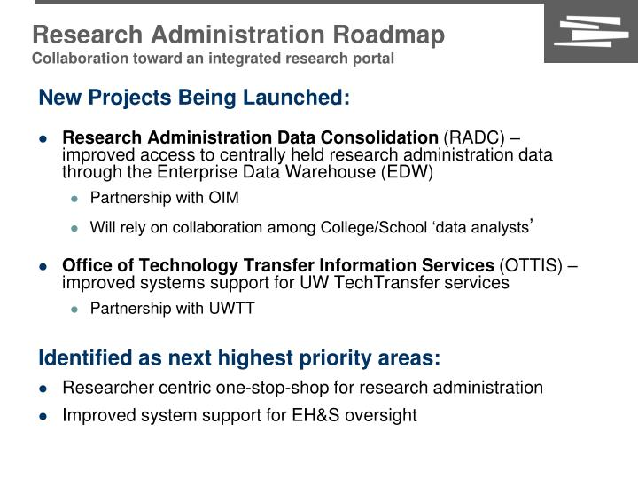 Research Administration Roadmap