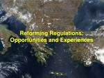 reforming regulations opportunities and experiences
