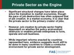 private sector as the engine