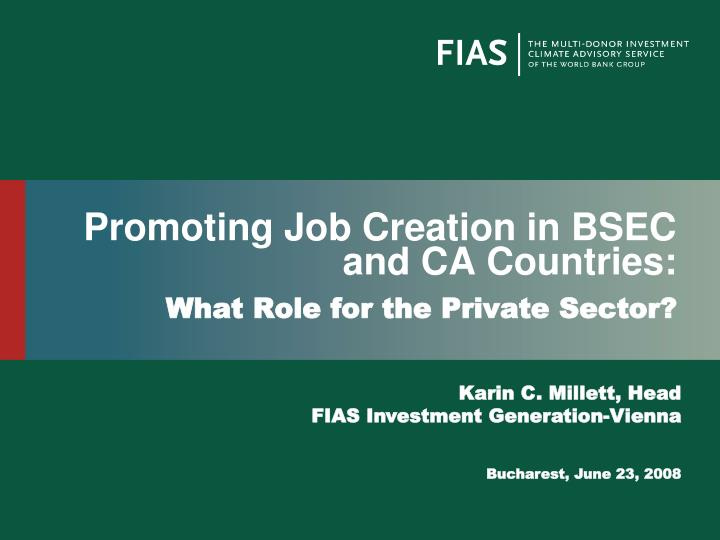 promoting job creation in bsec and ca countries n.