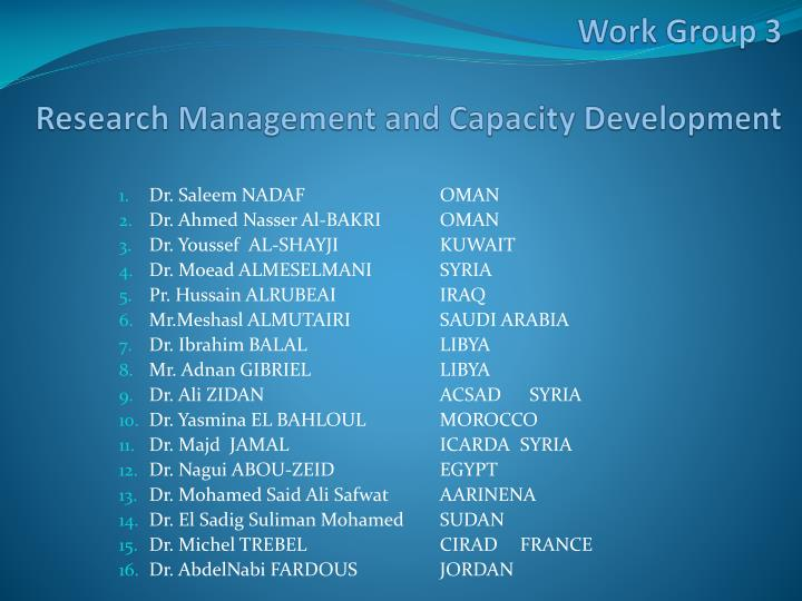 work group 3 research management and capacity development n.